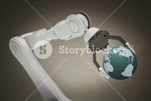 Composite image of digitally generated image of robot with globe 3d