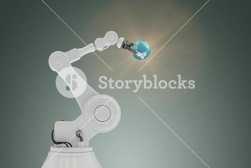 Composite image of graphic image of robot holding globe 3d