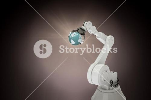 Composite image of composite image of robotic arm holding globe 3d