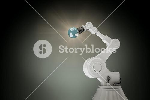 Composite image of digitally generated image of robotic arm with globe 3d