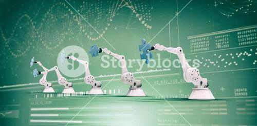 Composite image of modern robots with jigsaw puzzles 3d