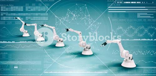 Composite image of vector image of modern robots 3d