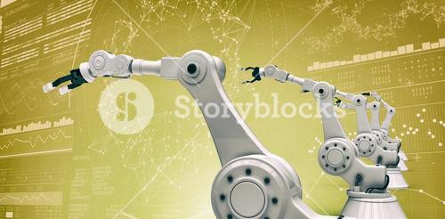 Composite image of vector image of modern robotic arms 3d