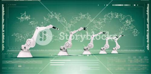Composite image of digitally generated image of robotic arms 3d