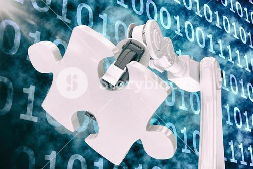 Vector image of machine holding jigsaw puzzle 3d