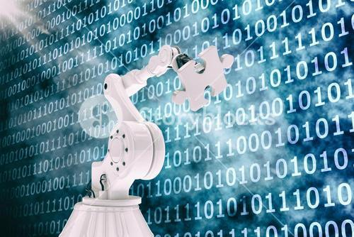 Vector image of robot holding jigsaw puzzle 3d