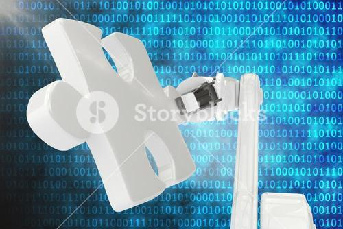 Digital generated image of robot with jigsaw piece 3d