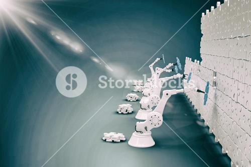 Composite image of robotic machineries setting up blue jigsaw piece on puzzle 3d