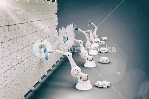 Composite image of high angle view of robotic hands arranging jigsaw pieces on puzzle 3d