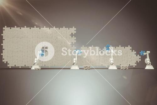Composite image of digitally generated image of robotic arms arranging blue jigsaw piece on puzzle 3