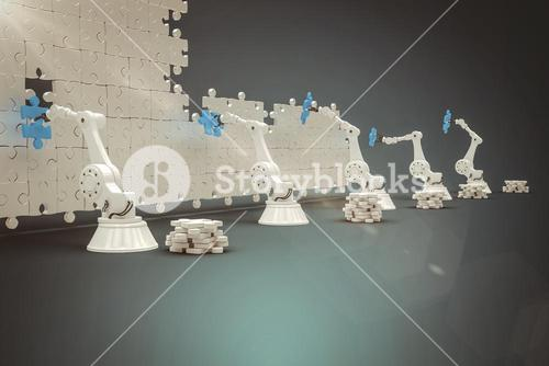 Composite image of machineries arranging blue jigsaw piece on puzzle 3d