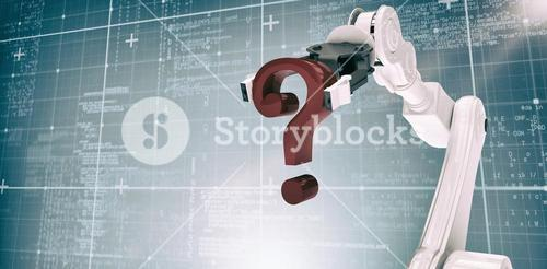 Composite image of composite image of robotic arm holding question mark 3d