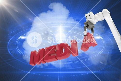 Composite image of image of robotic arm arranging media text 3d