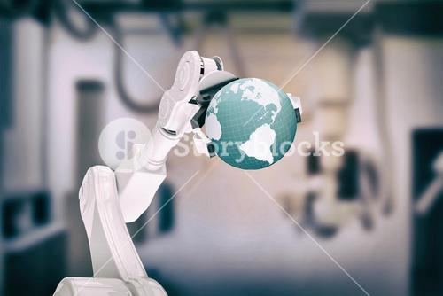 Composite image of digitally generated image of robot holding globe 3d