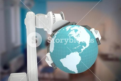 Composite image of graphic image of machine holding globe 3d