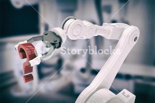 Composite image of close up of robotic arm with red question mark 3d