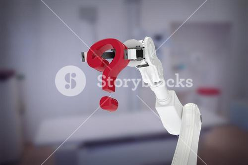 Composite image of white robotic arm holding red question mark 3d