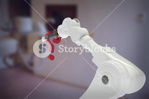 Composite image of white robotic arm holding question mark 3d