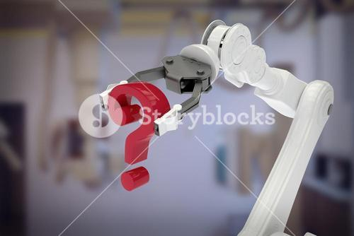 Composite image of image of robotic arm holding question mark 3d