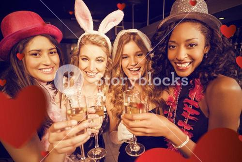 Composite image of friends celebrating bachelorette party