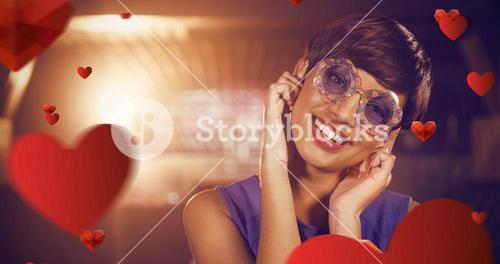 Composite image of portrait of woman wearing fancy sunglasses in bar