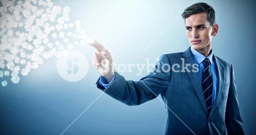 Composite image of well dressed young businessman gesturing 3d