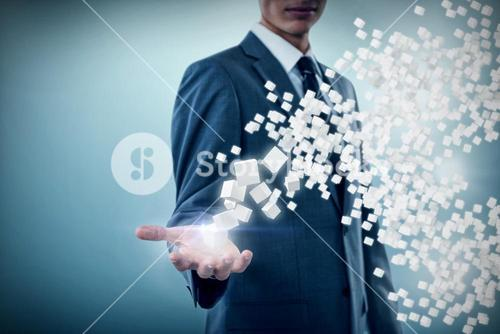 Composite image of midsection of sophisticated businessman offering 3d