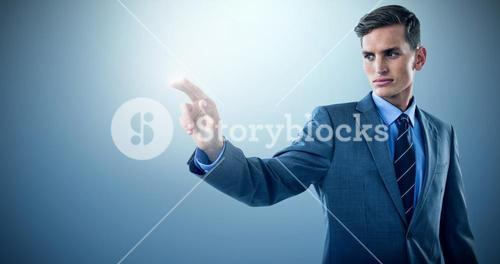 Composite image of well dressed young businessman gesturing