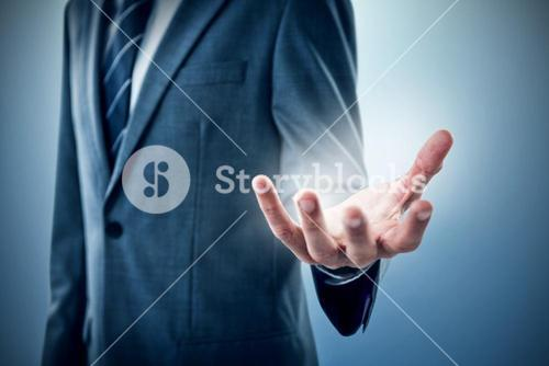 Composite image of midsection of businessman indicating