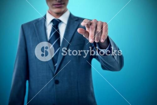 Composite image of midsection of businessman pointing