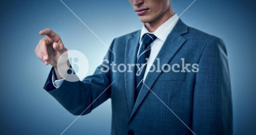 Composite image of midsection of elegant businessman pointing