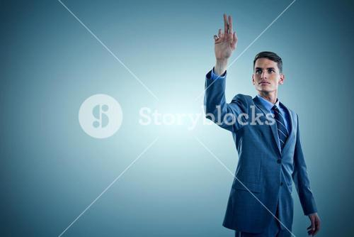 Composite image of young businessman gesturing