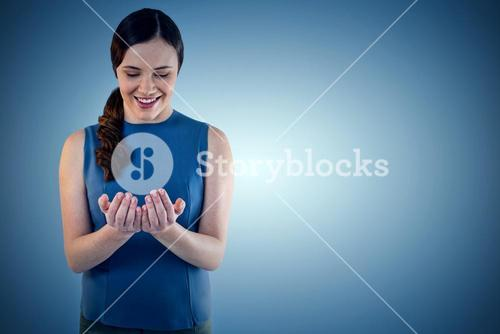Composite image of happy beautiful woman with hands cupped