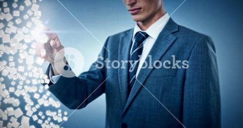 Composite image of midsection of elegant businessman pointing 3d