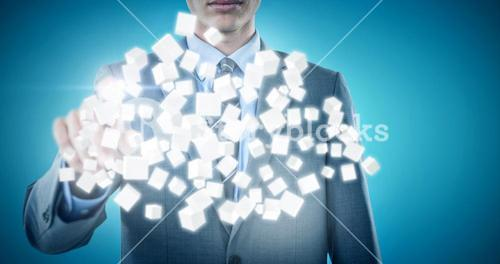 Composite image of midsection of well dressed businessman pointing 3d