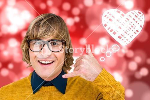 Composite image of portrait of hipster making phone sign
