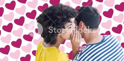 Composite image of couple whispering in ear