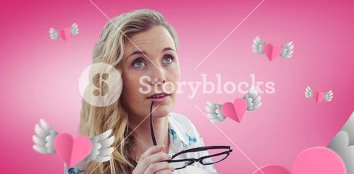 Composite image of pretty girl with glasses
