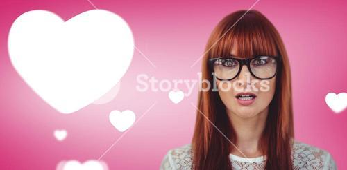 Composite image of surprised hipster woman posing face to the camera
