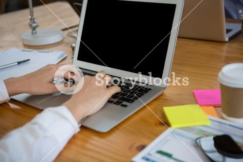 Female business executive using laptop at desk