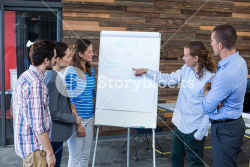Team of businesspeople having discussion over flip chart