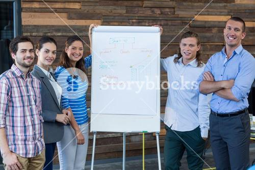 Portrait of businesspeople standing next to flip chart