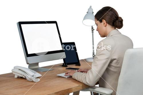 Businesswoman working over computer