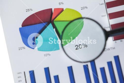 Close-up of magnifying glass on graph chart