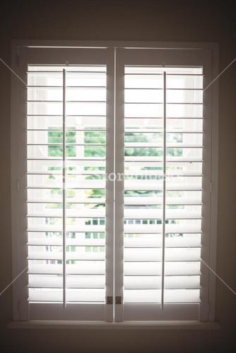 Interior view of window blinds
