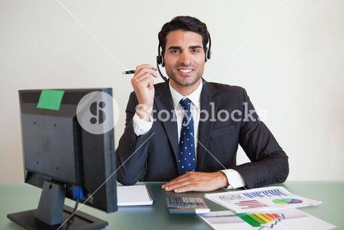 Sales assistant working