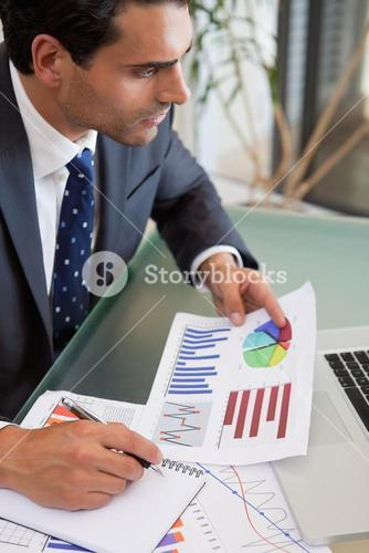 Portrait of a sales person studying statistics