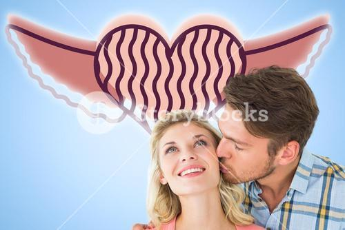 Composite image of handsome man kissing girlfriend on cheek