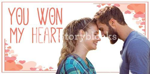 Composite image of couple smiling with close eyes