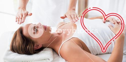 Composite image of massage session woman love heart